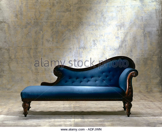 Blue chaise longue sofa on canvas background stock photo for Blue chaise longue