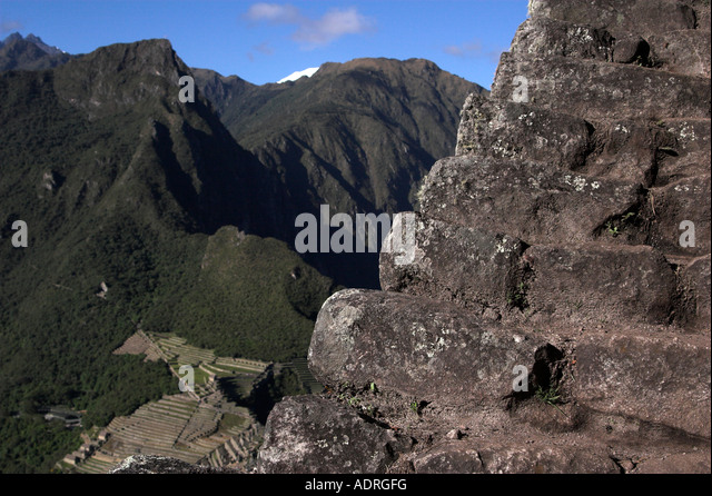 Machu picchu view of ancient inca ruins from carved