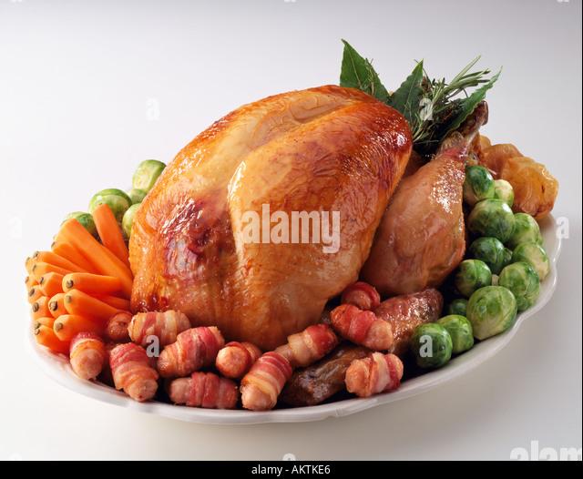 Stock Photo - Christmas Roast turkey bacon rolls brussel sprouts roast ...