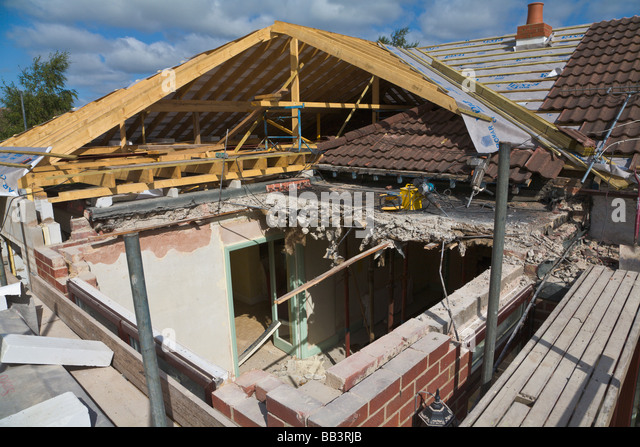 New Pitched Roof Being Built To Replace Flat Roof Stock