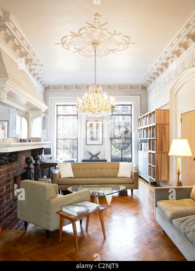 Brooklyn Brownstone Living Room With White Painted Ceiling Mouldings Stock Photo Royalty Free