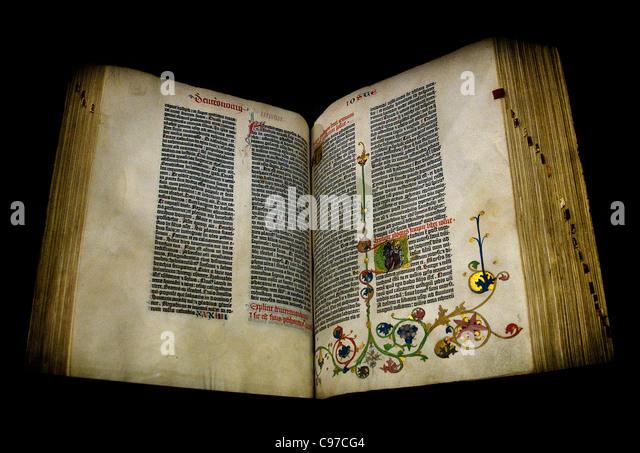 the gutenberg bible ca 1453 printed by johannes gutenberg