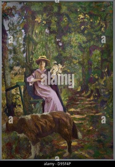 Lady Moving Aulnay Sous Bois - Edourd Vuillard L'Allée, aka Sous boisà la dame au chien Alley Stock Photo, Royalty Free