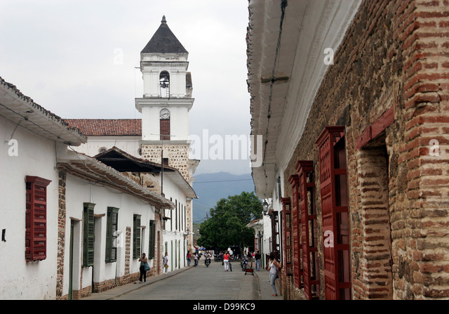 cathedral on plaza mayor colonial town of santa fe de