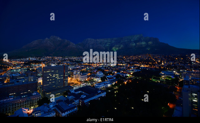Night Time Image Of Cape Town 39 S Table Mountain In Sillouette With Stock P