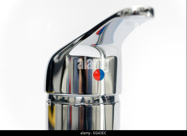 Blue And Red Logo On Kitchen Faucet