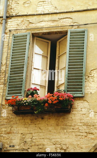 Exterior of a french house with red geraniums in window for French country window shutters