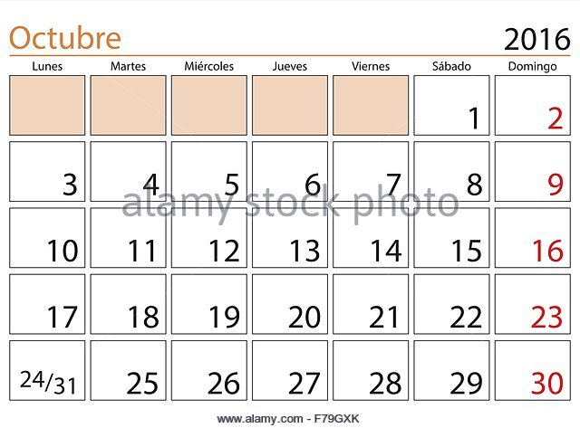 Weekly Calendar In Spanish : October month in a year calendar spanish octubre