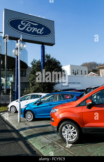 Ford vehicles on sale at a car dealership in tokyo japan for Ford motor company dealerships