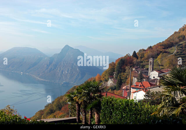 monte san salvatore and lake lugano seen from monte bre stock photo royalty free image. Black Bedroom Furniture Sets. Home Design Ideas