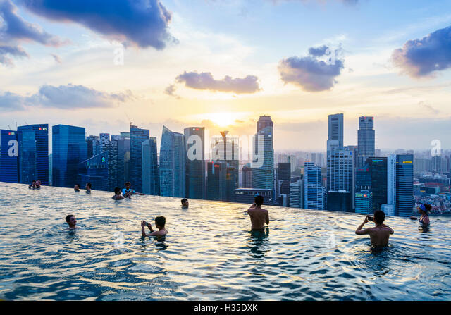 Infinity pool on the roof of the marina bay sands hotel with stock photo royalty free image - Singapur skyline pool ...